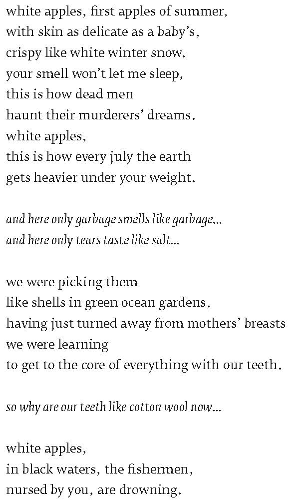 Valzhyna Mort - Factory of Tears - A Poem about White Apples