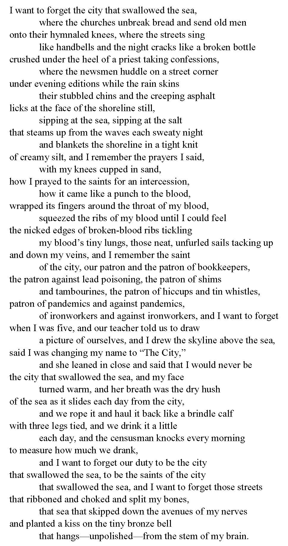 Teitman. Litany for the City. The City That Swallowed the Sea